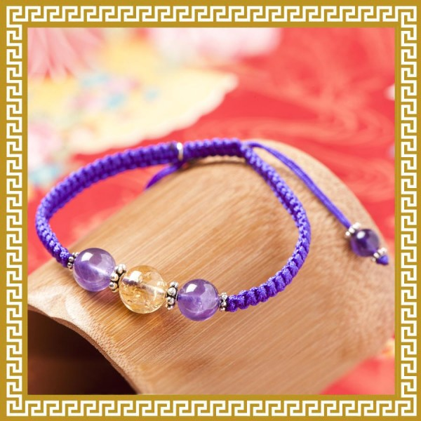 紫黃晶雙珠手繩